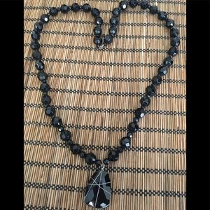Thick Black Glass Beaded Necklace